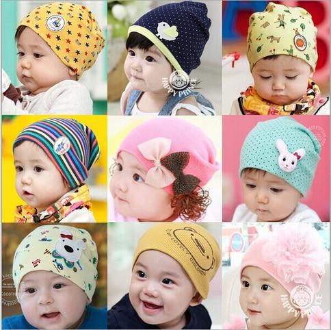 Padrão lindo chapéu do bebê outono e inverno malha chapéu crianças gorros de algodão do bebê para criança crianças