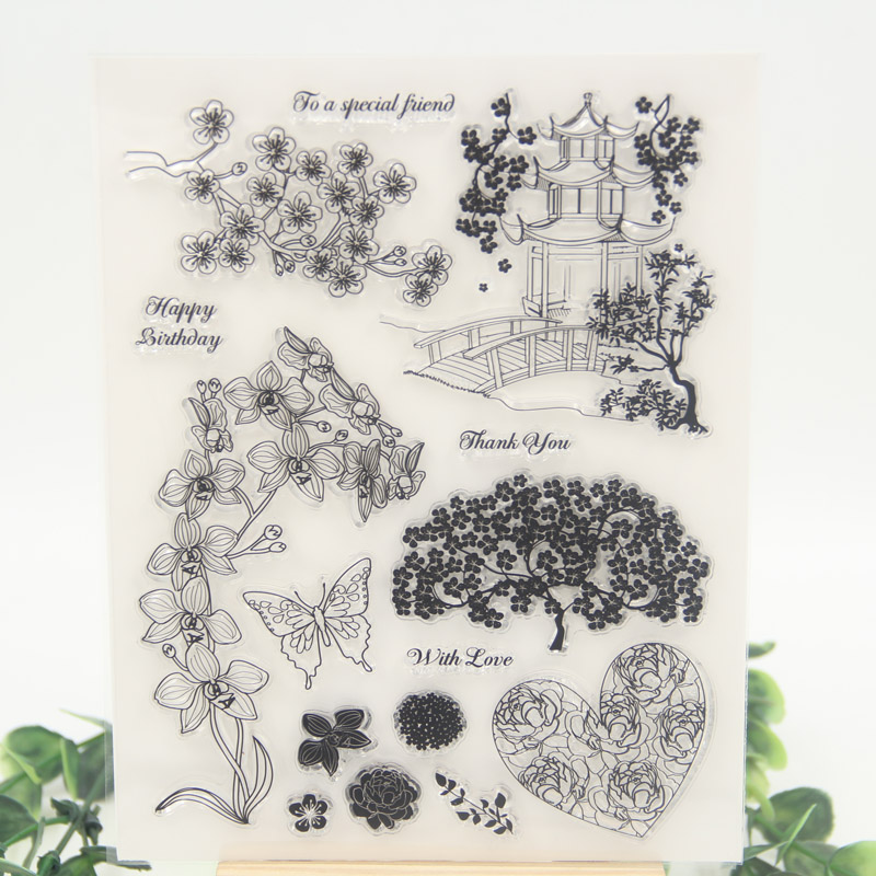 1 sheet DIY Pavilions and Trees Design Transparent Clear Rubber Stamp Seal Paper Craft Scrapbooking Decoration 1 sheet diy happy easter design transparent clear rubber stamp seal paper craft scrapbooking decoration