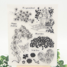 1 sheet DIY Pavilions and Trees Design Transparent Clear Rubber Stamp Seal Paper Craft Scrapbooking Decoration