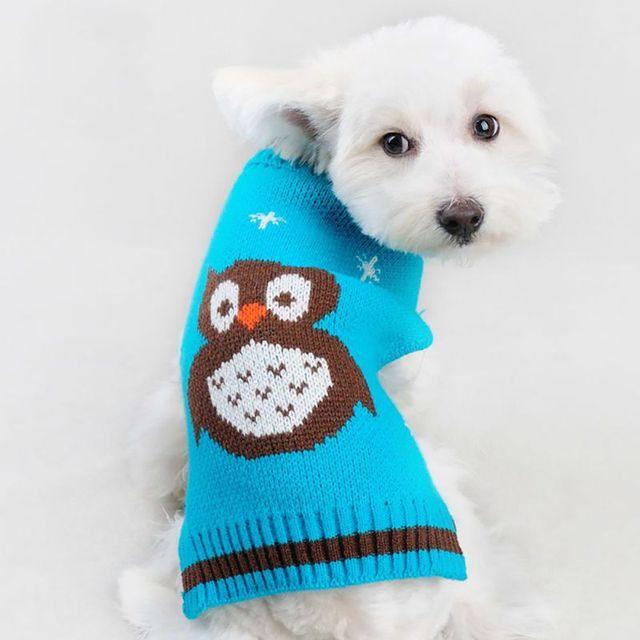 Newest Pet Dog Sweater Knit Clothes Pattern Owl Dog Orange Blue