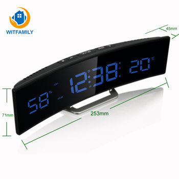 Temperature humidity display alarm clock bright adjustment 12/24 hour setting snooze nixie digital clock of home office decorate