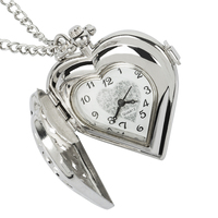 Fashion Silver Heart Shaped Lovely Hollow Elegant Quartz Pocket Watch Necklace Pendant for Women Ladies girl Birthday Gift