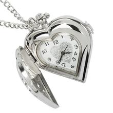 Fashion Silver Heart Shaped Lovely Hollow Elegant Quartz Pocket Watch Necklace Pendant for Women Ladies girl Birthday Gift цена
