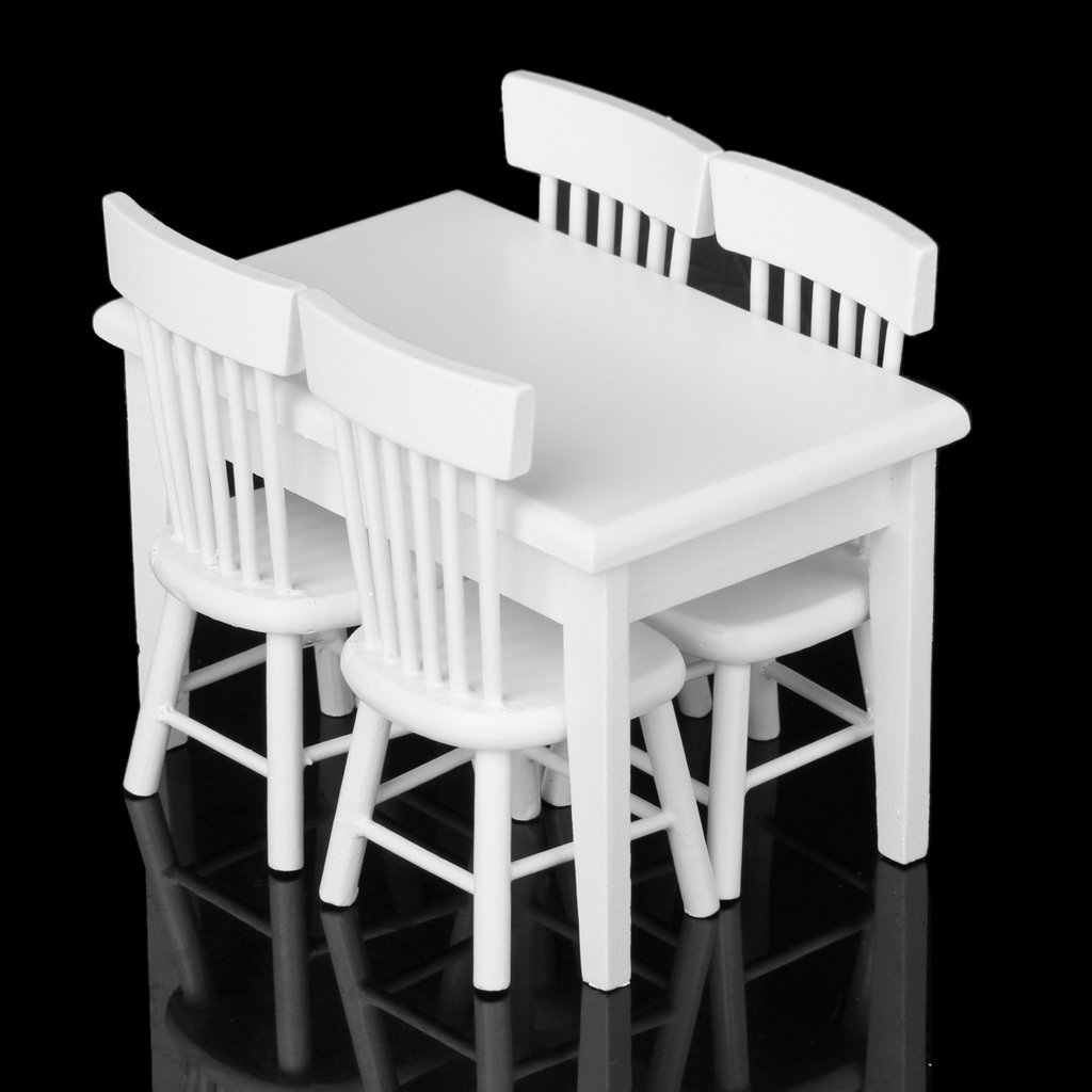 New 5 piece Model table chair a Manger Set Furniture Doll House Miniature White 1 / 12