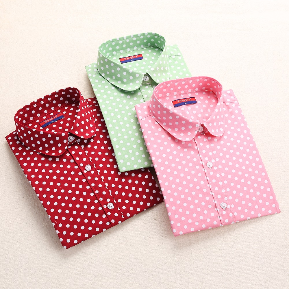 Neue Marke Red Polka Dot Shirt Dots Damen Hemden Bohemia Langarm - Damenbekleidung - Foto 2