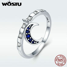 WOSTU New Collection 925 Sterling Silver Day Ring Monday Moon God Dangle Female Ring for Women Sterling Silver Jewelry Gift(China)