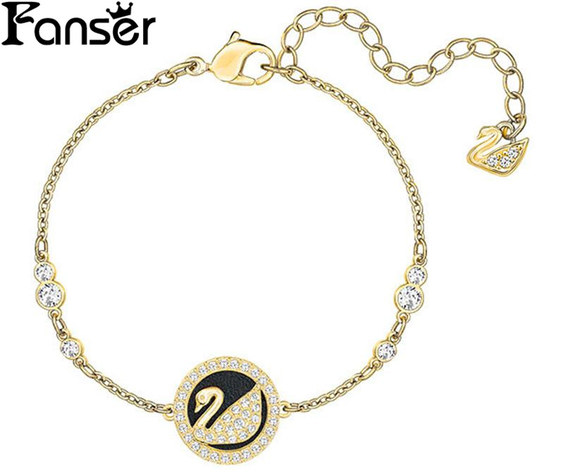 FANSER Circle Round Swan Shell Blacelet Silver& Rose gold Color SWAR Ladies Chain Special Manufacturer Wholesale Free Mail