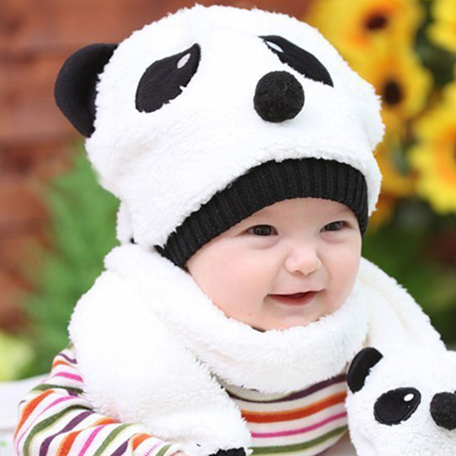 170b6496e28 2019 Winter Toddler Girl Boy Hat With Scarf Toddler Beanie Warm Hat Scarf  Set Knitted Cap