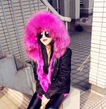 Thick Winter Coat European Fashion Multi Color Large Fur Collar Wadded Jacket Outwear with Hooded Balck Female Cotton Jackets