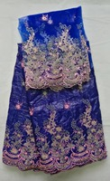 2016 New arrival blue african Bazin riche getzner fabric with Embroidery lace for dress!hl6-1