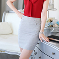 Pencil Pockets Formal Gray Black Mini Solid Lady Women Above Knee Skirts