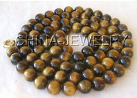 Beautiful 50'' 10mm round tiger eye necklace moonlight clasp Factory Wholesale price Women Giftword Jewelry