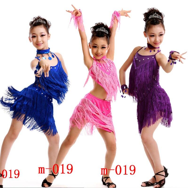 Children Tassels Latin Dancing Dress Girls Ballroom Stage Dance Competition Dresses Kids Skating Modern Jazz Dancing Costumes