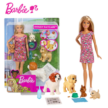 Original Barbie Doggy Daycare Doll Set Barbie Pet Dog Care Combination Children Educational Toy Birthday Gift FXH08