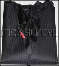 black stripe wedding man's vest 4pcs solid colour (waistcoat+ascot tie+cufflinks+handkerchief)