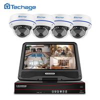 Techage 8CH 1080P POE NVR CCTV System 10 1 LCD Monitor Screen Indoor Dome Vandalproof Anti