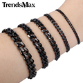 Trendsmax Width 3/5/7/9/11mm Mens Boys Black Stainless Steel Curb Chain Bracelet Fashion Wholesale Jewelry KBM05