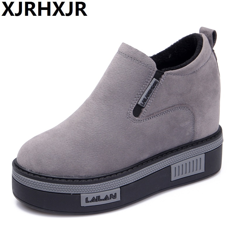 Autumn Winter 8cm Height Increasing Shoes Women Casual Hidden Heel Wedges Shoes Fashion Platform Slip On Comfort Shoes Black minika women casual canvas shoes air cushion soles slip on swing fitness shoes platform wedges walking height increasing shoes