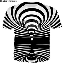 PLstar Cosmos Black and White Striped T-shirt for Men Summer Tees 3d Geometric & Paisley T shirt Casual shirts Male Tops