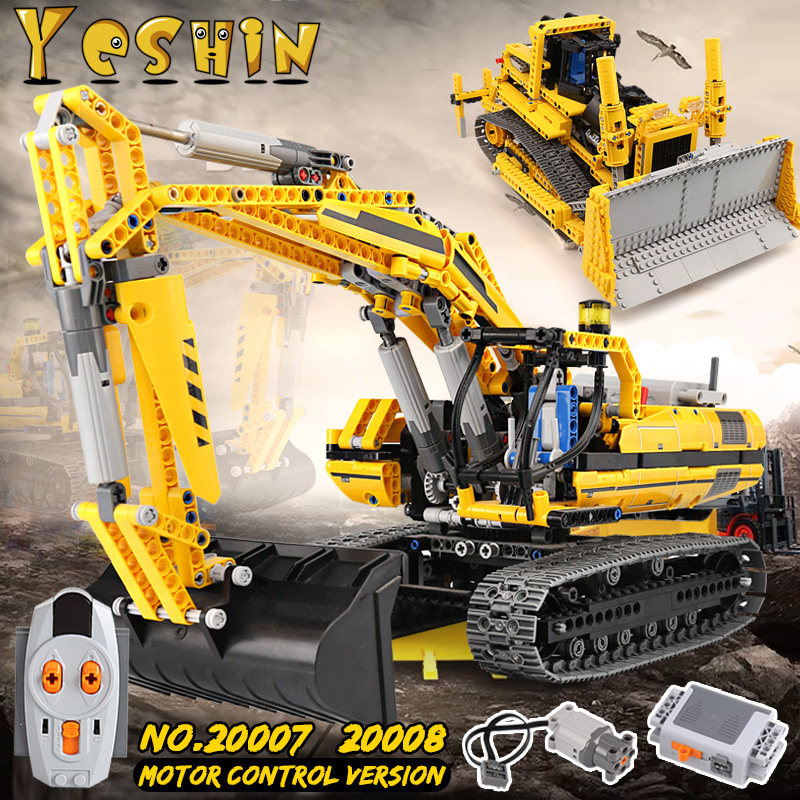 Yeshin 20008 Technic série lepin 20007 bulldozer blocs de construction brique Compatible LegoINGlys 8275 8043 noël brithday cadeaux