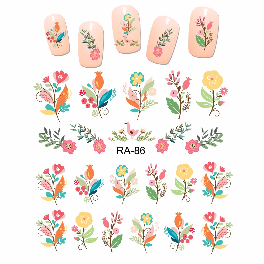 Nail Art Beauty Water Stiker Slider Kartun Lucu Buket Bunga Mawar Bud Ra85 90 Stiker Stiker Aliexpress