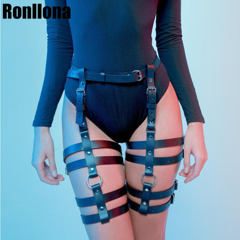 Sexy Hot Erotic Harness Belts Bondage Lingerie Suspender Belt Gothic Punk Style Pu Leather Harness Leg Garters Body Harness Cage