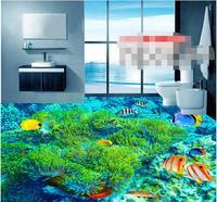 3d pvc flooring custom mural waterproof self adhesion coral sea fish underwater world bathroom flooring wallpaper for walls 3d