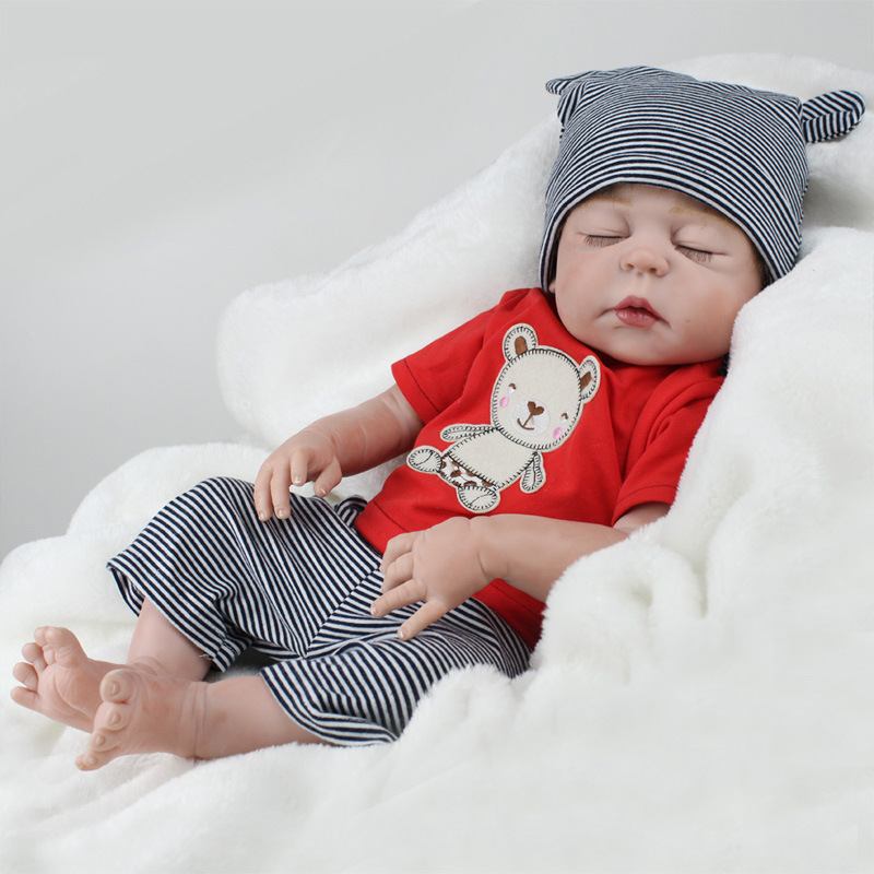"""55cm Silicone Reborn Dolls Model Toys 22"""" Lovely Girl Baby Model Newborn Doll Model Kids Gifts Collections"""