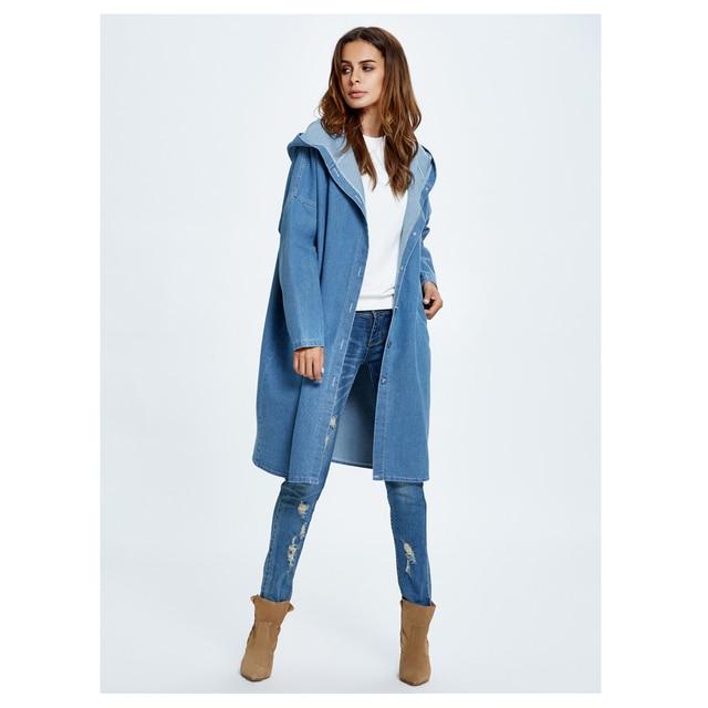 c9b61a1292ce Женская новая мода весна осень джинсовая куртка с длинным капюшоном  Свободная куртка с длинным рукавом женские