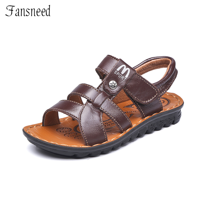 Детская обувь сандалии 2017 новые кожаные сандалии мальчиков большой девственный пляж детские сандалии