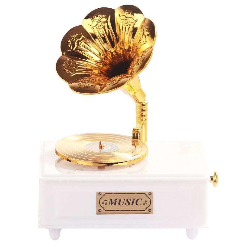 Tatlı Gramofon Çekmece Müzik Kutusu Ev Aksesuar Düğün Doğum Günü Hediyesi için Heykelcik Mücevher Kutusu El Krank Atlıkarınca Müzik Kutuları