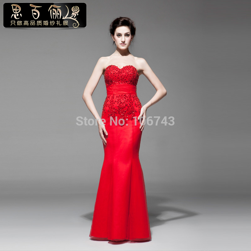 free shipping Formal gowns 2015 new fashion high quality vestidos formales red long sweetheart bandage fish tail   evening     dresses