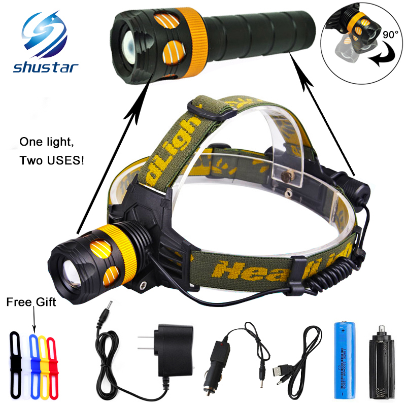 RU 5000Lumens Detachable Headlamp becomes flashlight CREE XML L2 T6 Zoomable Headlight Waterproof Head Torch Give