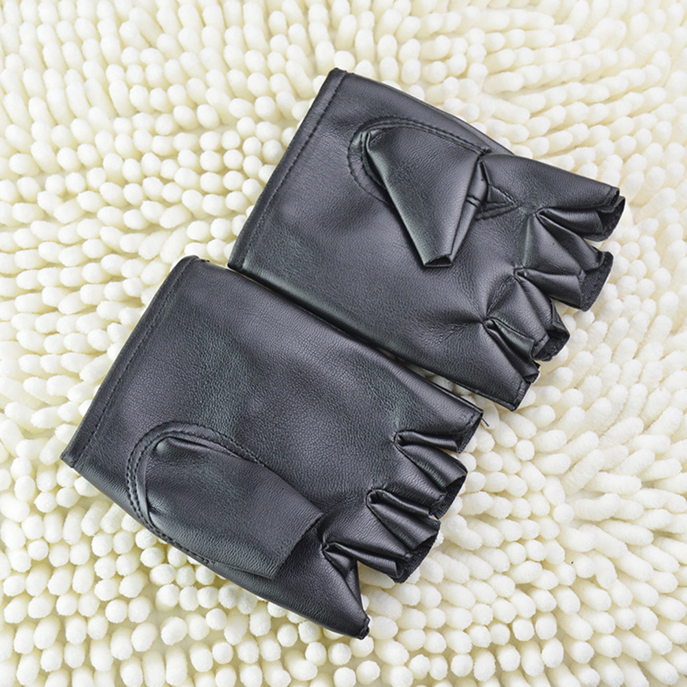 Gloves Driving Sport Fingerless Gloves Outdoor Punk PU Leather