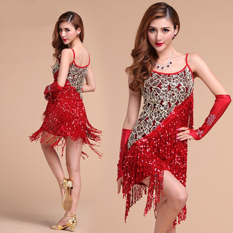 Sequins Tassel Asymmetric Latin Dance Dress for Women Perfprmance Latin Salsa Samba Dresses Ballroom Tango Costumes L040
