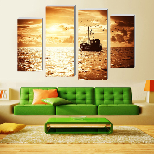 4 Panels (No Frame) Sailboat Canvas Wall Art Picture Home Decoration ...