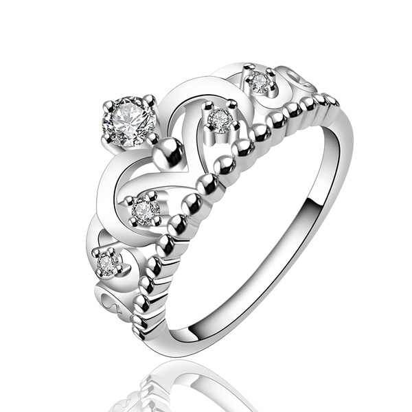 Silver rings crystal Rings for women lady wedding gift cute lady  crown Zircon ring fashion sweet ring R601