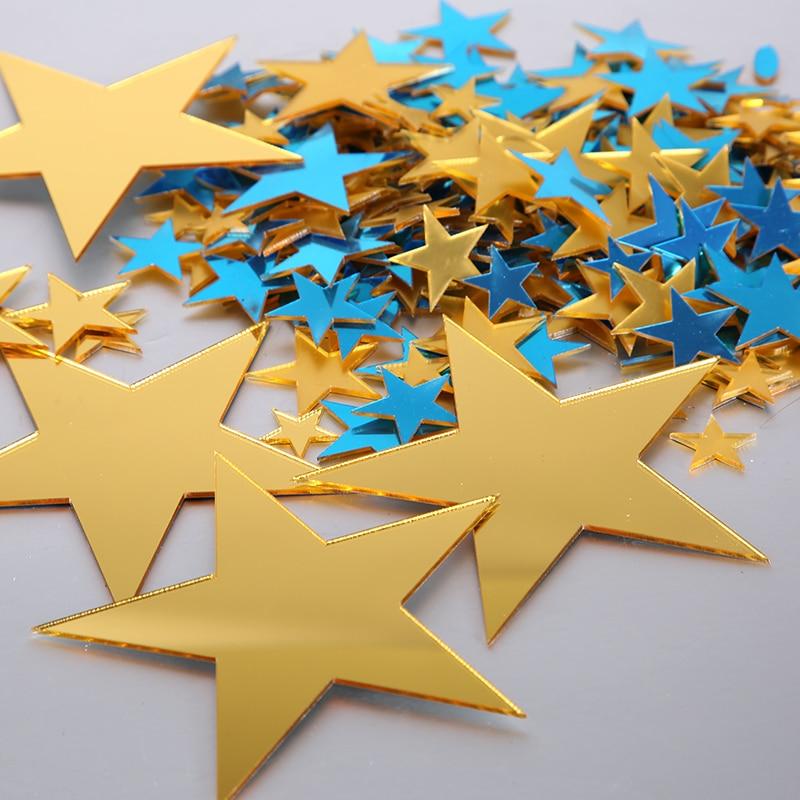 50 Qty  Small Laser Cut Acrylic Stars,Mirror Gold Acrylic Stars- DIY Craft Supplies  Flag Making