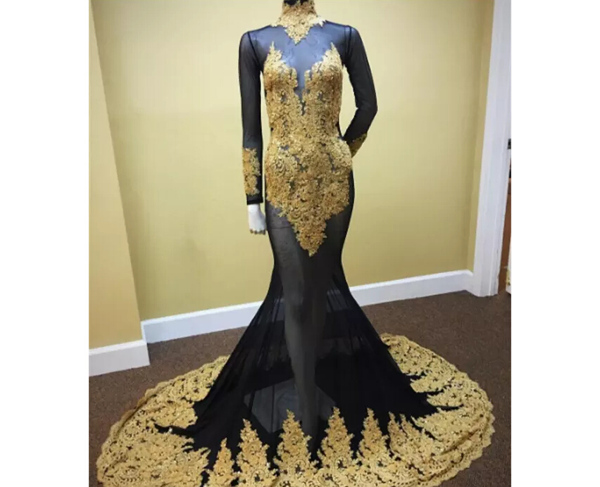 Sexy African Sexy See Through Black And Gold Mermaid Prom