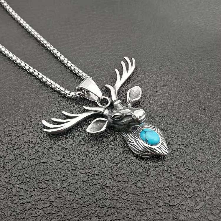 Hip Hop Silver Color animal elk antlers Pendants & Necklaces deer With green stone Long Twist Chain Statement Necklace Woman Men