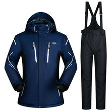 2017 Men's Ski Suit Waterproof Windproof Ski Jacket And Pants Thicken Warm Clothing Trousers Men Snowboard Solid Color Ski Suits(China)
