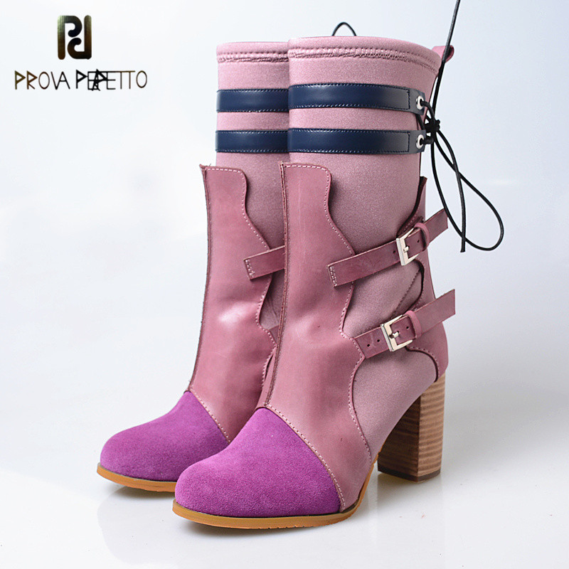 Prova perfetto 2018 Hand-made Elegant Style Woman Mid-boots Thick High Heels Mixed Colors Slip-on Look Thin Buckle Strap BootsProva perfetto 2018 Hand-made Elegant Style Woman Mid-boots Thick High Heels Mixed Colors Slip-on Look Thin Buckle Strap Boots