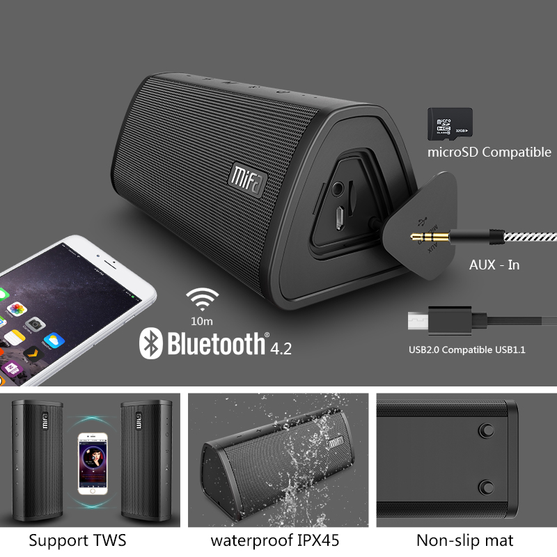 Image 2 - Mifa Portable Bluetooth speaker Portable Wireless Loudspeaker  Surround Sound System 10W stereo Music Waterproof Outdoor  SpeakerPortable Speakers