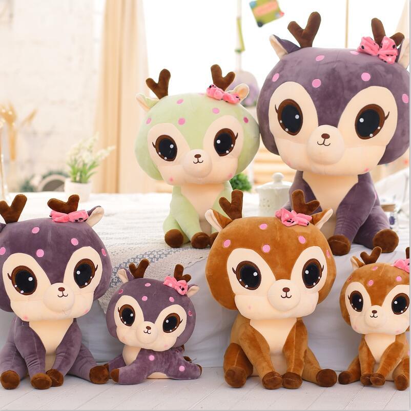 1pc 30cm Cute Giraffe Plush Toys Soft Sika Deer Pillow Dolls Kawaii Stuffed Plush Animals Toy Kids Baby Gifts cute white seal doll toy plush seals toys baby gifts stuffed animals kawaii