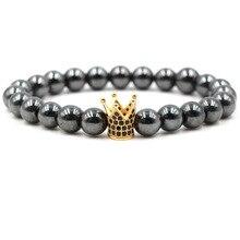 2019 Popular New Foreign Trade Zircon Crown Bracelet 8mm Black Stone Accessories Charm Chain Elastic