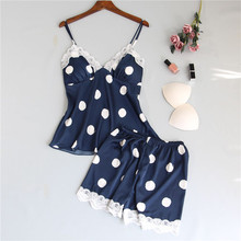 Spaghetti Strap Lace Sexy Women Pajamas V-Neck With Pad Female Summer Pajama Set Polka Dot Summer Female Sleepwear plus polka dot lace trim pajama set