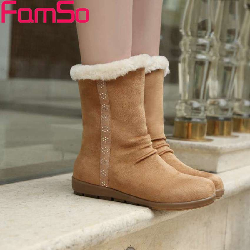 Free shipping 2016 New Fashion Winter Snow Boots Fur Outdoor Shoes Designer Shoes font b Women