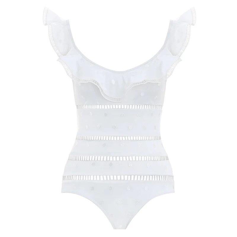 Однотонная одежда для девушек, сексуальный цельный купальник с оборками, Ретро стиль, Женский Монокини, купальник на бретелях, винтажный Ку... - 5