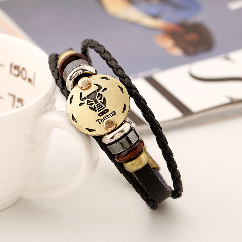 Taurus Genuine Leather Bracelet 12 Zodiac Horoscope Charms Bracelet Men For Women Bangles Hematite Beads Bracelets bracelet