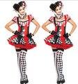 2016 новая девушка Взрослых Клоун Цирк Харли Квинн Косплей Костюм Карнавал Хэллоуин Костюмы Для Женщин